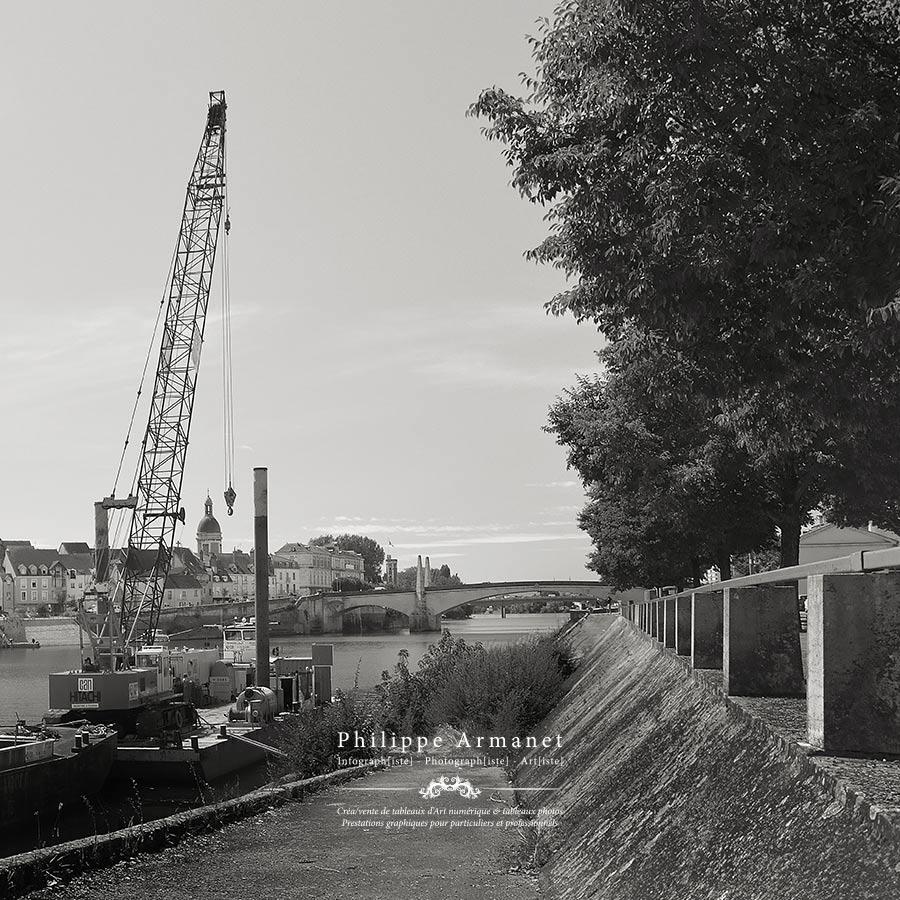 Photographie de la Saône en noir et blanc et en tirage numéroté