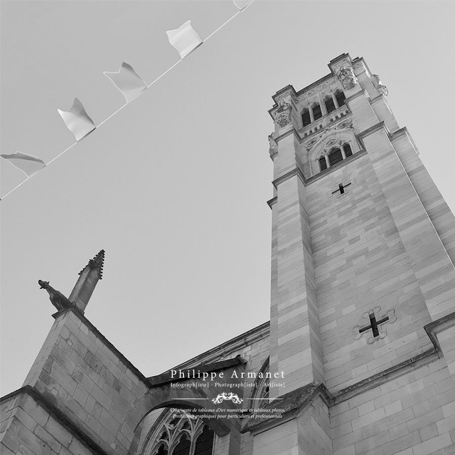Vente photographie noir et blanc de la cathédrale de Chalon-sur-Saône.