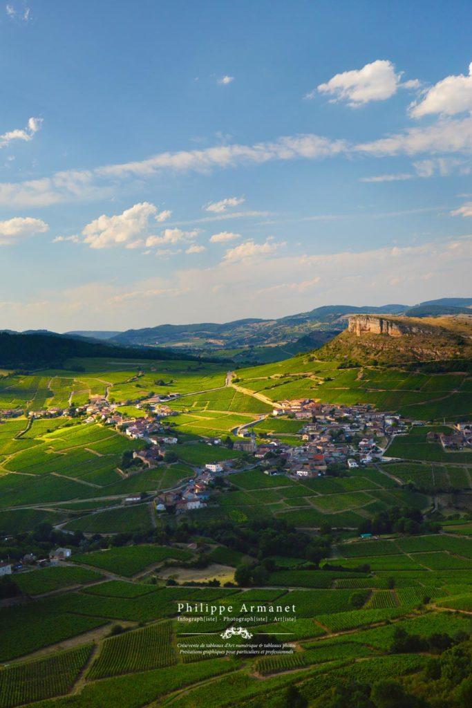 Photographie de paysage vu de la roche de Solutré. Tous droits réservés : Philippe Armanet.