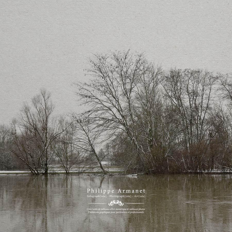 """""""Crue et neige"""" Tirage fine Art sur papier Awagami. La poésie de l'image par Philippe Armanet."""